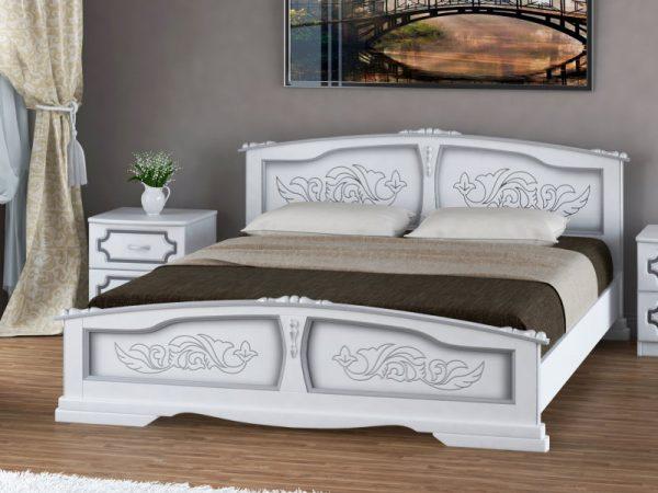 Кровать «Елена» белый жемчуг