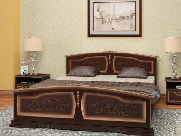 Кровать «Елена» орех темный с тонировкой