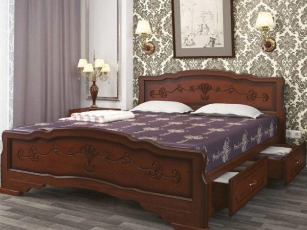 Кровать «Карина-6» орех, с ящиками